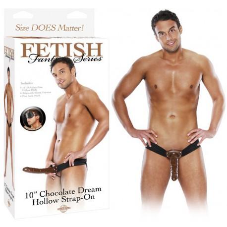 Gode ceinture creux chocolat Extra Long Fetish Fantasy 26 cm