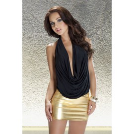 Mini jupe or et Top noir Lavanya S-M