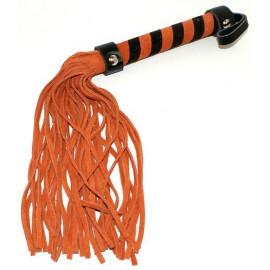 Fouet en cuir orange et noir 38 cm