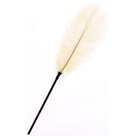Plume blanche sur tige - 46 cm